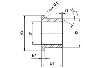 zylindrisch IGUS IGLIDUR W300 Gleitlager WFM-1012-12 mit Bund