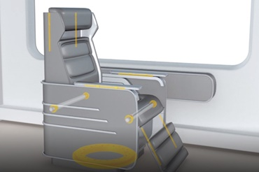 Seat with iglidur plain bearings, drylin linear guides and a PRT slewing ring bearing