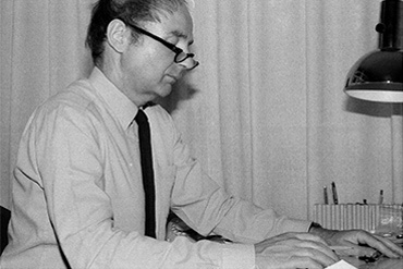 Günter Blase at his desk